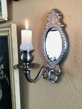 Ornate Silver Wall Sconce Mirror Taper Candle Holder Decor Art Frame Display