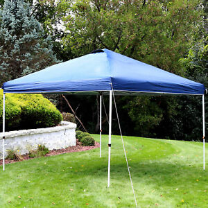 Sunnydaze 12x12 Foot Premium Pop-Up Canopy Shade with Vent - Blue