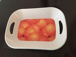 Orange Fruit Bread Basket White Plastic Serving Food Bowl Free Shipping Sale