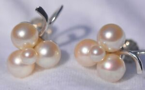14k White Gold Screw Back Non-Pierced Earrings, Cultured Pearl Cluster Settings
