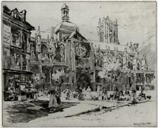 CHARLES JOHN WATSON Signed Etching THE FRENCH CHURCH 1914