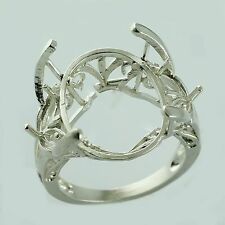 Semi Mount Oval Shape Ring 13x18 Mm Exotic Sterling Silver Engagement Jewelry