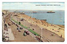 Marine Parade & Pier - Worthing Photo Postcard c1950s