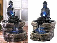 ZEN SERENITY BUDDHA W/ LED LIGHTED WATER FOUNTAIN *In/Outdoor* NIB