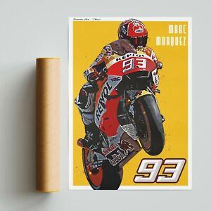 Marc Marquez Repsol Honda Poster Print. MotoGP Motorsport A4 A3 A2 Wall Art MM93