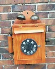Briefkasten Telefon Retro Postkasten Metall Holz-Optik Wandbriefkasten antik