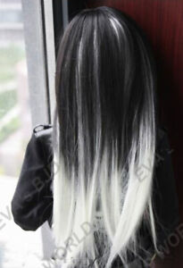 1/4 1/3&Uncle BJD Long Straight Wig Doll Hair Mix Gradient Colors Black+White