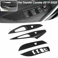 For Toyota Corolla 2019-2020 4Pcs Carbon Fiber Car Window Lift Switch Cover Trim