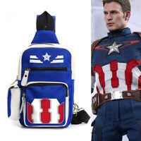 Marvel Captain America Cosplay Backpack Shoulder Bag Crossbody Chest Travel Bag
