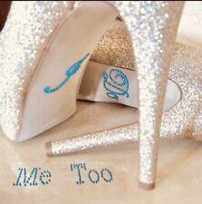 """Hochzeit """"I Do & Me Too"""" Strassstein Aufkleber für die Schuhe - Türkis"""