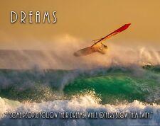 Windsurfing Motivational Poster Art Print Club Surfing Board Mast Dreams Mvp644