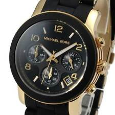 Michael Kors MK5191 Watch RUNWAY Chronograph Black Silicone Gold-Tone MK5191