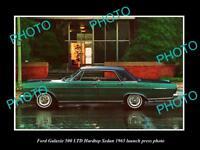 OLD LARGE HISTORIC PHOTO OF FORD GALAXIE 500 LTD SEDAN 1965 LAUNCH PRESS PHOTO