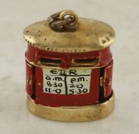 9ct Gold Charm - Vintage 9ct Yellow Enamelled Red Post Box (5.7g) Charm (Opens).
