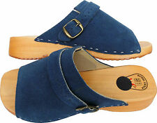 HOLZ (e) CLOGS Holz Pantolette Gr.37, WildLEDER, Blau (Made in Poland 19.5.4.89)