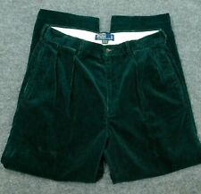 POLO RALPH LAUREN Green Corduroy ANDREW Pants Trousers Pleated Cords 33x28