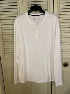 Men's Under Armour Heat Gear FITTED Mesh Henley White Long Sleeve Shirt Size L