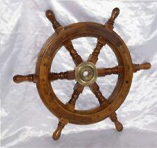 Antico timone nautico in legno e ottone arredo ufficio marina guardia costiera