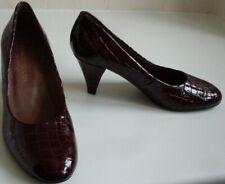 GRAY & OSBOURN Burgundy Red Moc Croc Pump Heels Court Shoes Size EU 36.5 UK 3.5