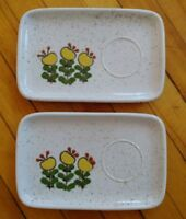 Two Vintage Speckled Ceramic Plate with Yellow Green Beige Flowers Cup Ring MCM