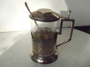 Teeglashalter mit Glass und Löffel, Russland, 84 Silber, um 1900 -1912.