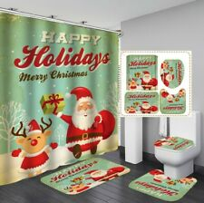 3D Christmas Shower Curtain Floor Mat Toilet Lid Cover Bathroom Rugs Mat Set #4