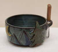 Made-in-the-USA Ceramic Dip Bowl with Pine Trees/Moon Crafted by JoAnn Stratakos