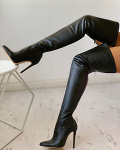 2020 PU Zipper Stiletto Boots Women Over The Knee Boots Shoes Top Hot