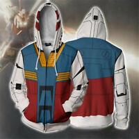 Anime GUNDAM Cosplay Hoodie 3D Hooded Sweatshirt Unisex Jacket Zipper Coat Tops