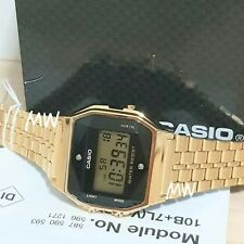 CASIO VINTAGE RETRO DIGITAL GOLD TONE WATCH A159WGED-1 Alarm natural diamonds