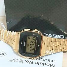 CASIO VINTAGE RETRO DIGITAL GOLD TONE WATCH A159WGED-1 Alarm natural diamonds