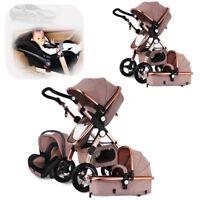 3 in 1 Pro Baby Stroller High View Pram Foldable Pushchair Bassinet & Car Seat