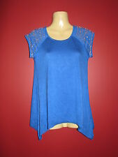 ELIO Women's Blue Embellished Sleeve Knit Top - Size XS - NWT