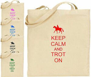 Keep Calm And Trot On Large Cotton Tote Shopping Bag Present Xmas Cool Horse Fun