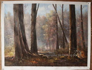 """Fine Art Sale Landscape-Forest Trees beautiful scenery Painted Signed 36""""x48"""""""