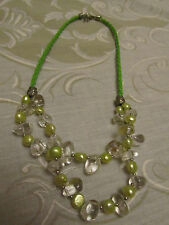 Green Cultured Pearls with Clear Glass Pebble Beads Necklace