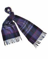 Unisex 100% Wool Purple Plaid Pattern Scarf with Tassels Warm Winter Accessory