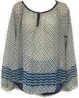 Women's Lush Multicolor Sheer Blouse Size Medium Regular Long Sleeve