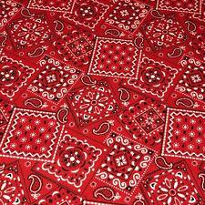 Red - Blazin' Bandana 100% cotton fabric by the yard 36 x 44 - Red Bandana