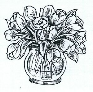 Small Tulips in Round Vase NORTHWOODS Wood Mounted Rubber Stamp NEW C10740