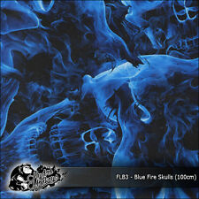 1m of Blue Fire Skulls (FLB3) 100cm hydrographics water transfer film