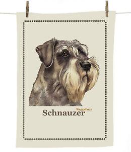 Waggy Dogz (cd05sq) Schnauzer (Head) Dog Breed  Cotton TeaTowel C Varley 67x47cm