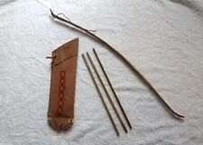 Vintage Yellowstone Park Wood Bow. Wood Arrows. Leather? Quiver Toy Set