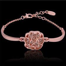 18K Rose Gold Plated With Zircon Bracelet Bangle Women Fashion Jewelry UK