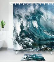 Sea Waves Nautical Shower Curtain for Bathroom Waterproof Fabric Bath Mat Rug