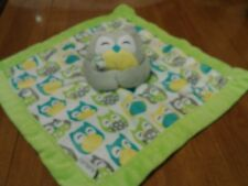 Carters Grey Green Owl Baby Blanket Aqua Soft Plush Security Lovey