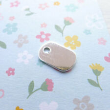 Mini Dog Tag Blanks Sterling Silver Little Oval Charms for Stamping (BR698264a)