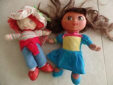 "2 baby dolls DORA THE EXPLORER & STRAWBERRY SHORTCAKE princess 9"" small TOY play"