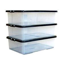 Box Storage Chest Under Bed Plastic Lid Drawer Organiser Container Case x3