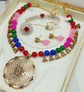 India Mala Necklace Gold Plated Jewelry Stone Pearls Ring Bracelet Fashion Pink